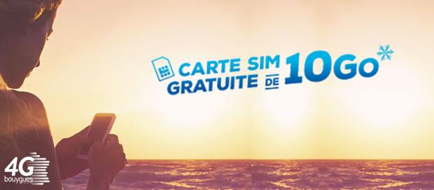 carte sim gratuite sans engagement Cet été, testez la #4GBouygues avec une carte SIM gratuite de 10